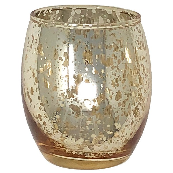 """Ovoid Mercury Glass Votive Candle Holder 3.25""""H Speckled Gold"""