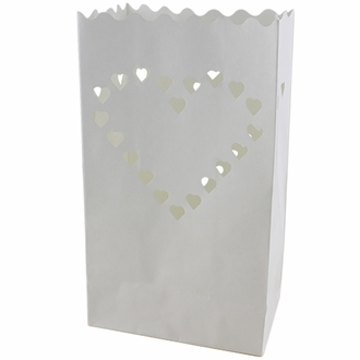 Paper Candle Bag Luminaries White Big Heart (10-pack)