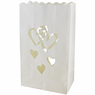 Paper Candle Bag Luminaries White Love Heart (10-pack)