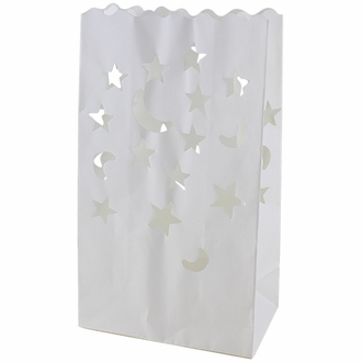 Paper Candle Bag Luminaries White Moon and Star (10-pack)