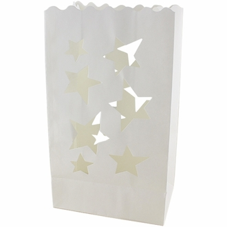 Paper Candle Bag Luminaries White Star (10-pack)