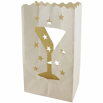 Paper Candle Bag Luminaries White Wine Cup and Star (10-pack)