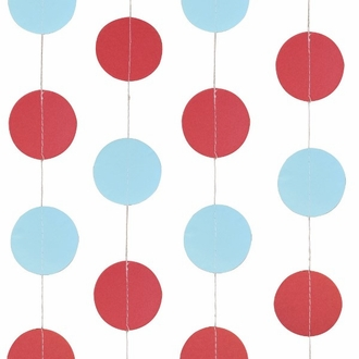 Paper Circle Garland Red and Baby Blue 4ft