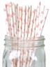 Paper Straws 25pcs Light Pink Hearts