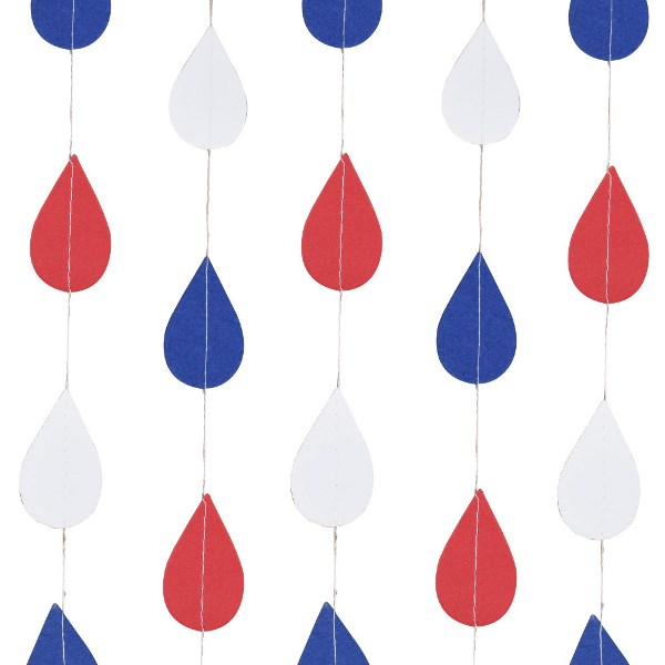 Paper Teardrop Garland Red White and Blue 4ft