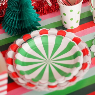 Party Paper Cups 12pcs Green Apple Polka Dot