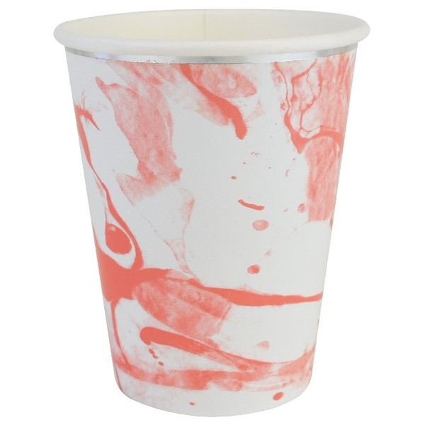 Party Paper Cups 8pcs Marble Coral