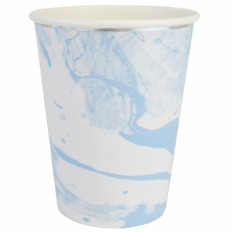 Party Paper Cups 8pcs Marble Sky Blue