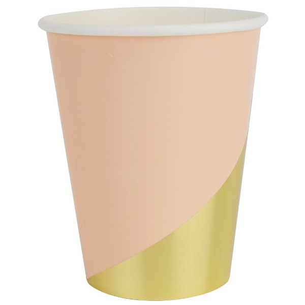 Party Paper Cups 8pcs Modern Peach Gold