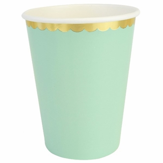 Party Paper Cups 8pcs Scallop Solid Mint
