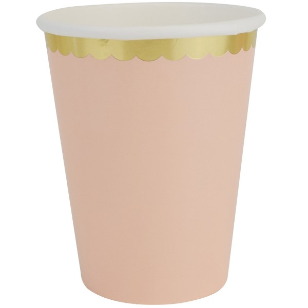 Party Paper Cups 8pcs Scallop Solid Peach