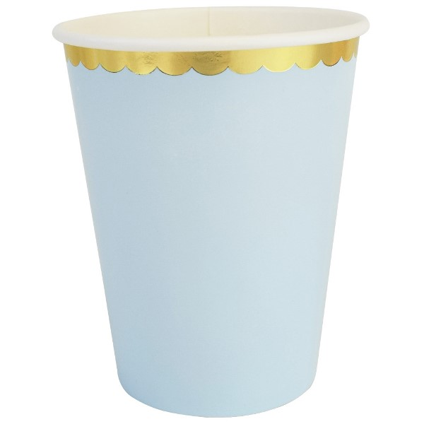 Party Paper Cups 8pcs Scallop Solid Sky Blue