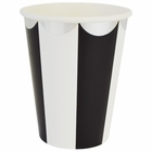 Party Paper Cups 8pcs Scallop Stripe Black Silver