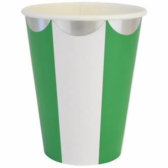 Party Paper Cups 8pcs Scallop Stripe Kelly Green Silver
