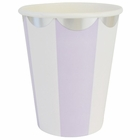 Party Paper Cups 8pcs Scallop Stripe Lavender Silver