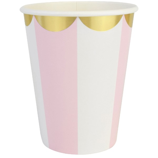 Party Paper Cups 8pcs Scallop Stripe Light Pink Gold