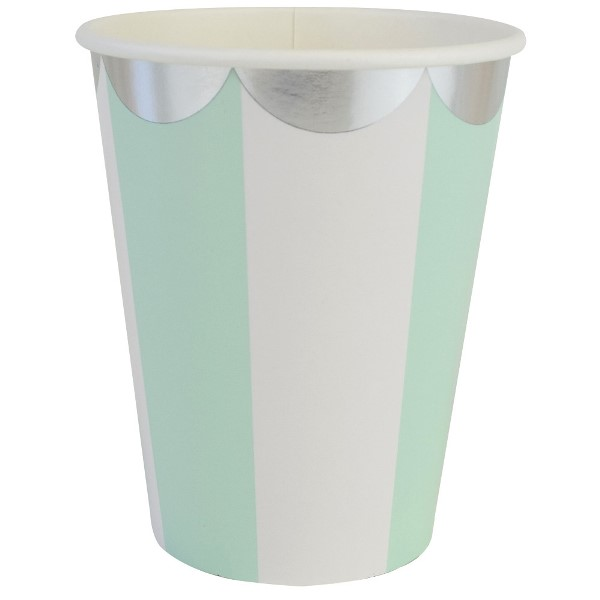 Party Paper Cups 8pcs Scallop Stripe Mint Silver