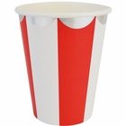 Party Paper Cups 8pcs Scallop Stripe Red Silver