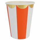 Party Paper Cups 8pcs Scallop Stripe Tangerine Gold