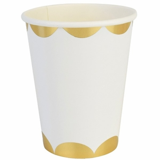 Party Paper Cups 8pcs Scallop Stripe White Gold