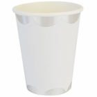 Party Paper Cups 8pcs Scallop Stripe White Silver