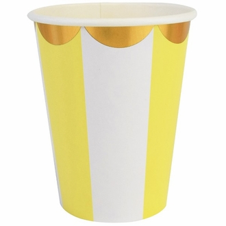 Party Paper Cups 8pcs Scallop Stripe Yellow Gold