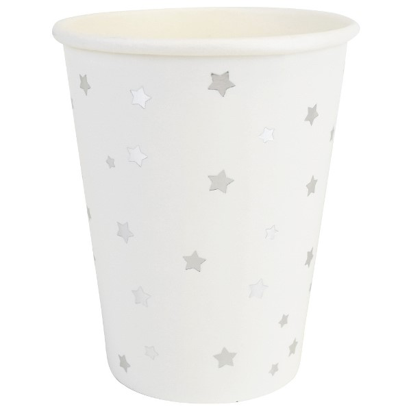 Party Paper Cups 8pcs Silver Stars