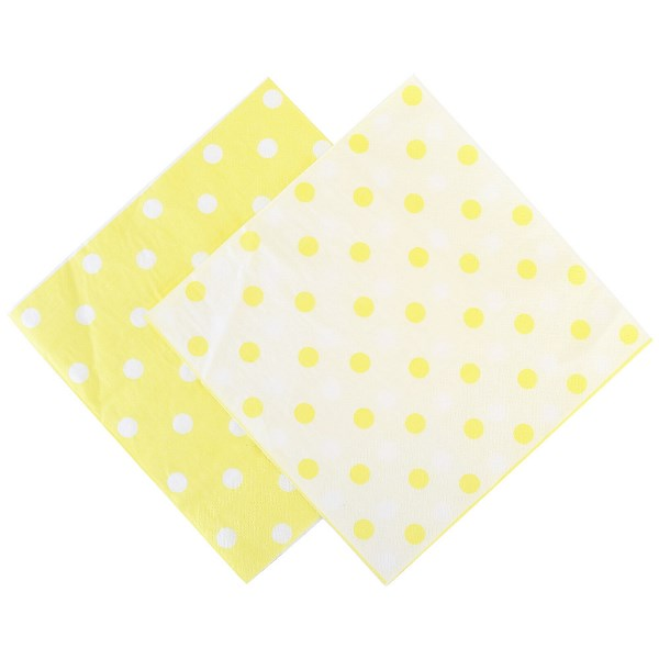 "Party Paper Napkins 6.5"" 20pcs  Polka Dot Banana Yellow"