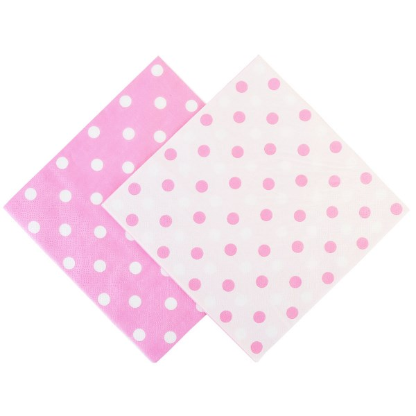"Party Paper Napkins 6.5"" 20pcs  Polka Dot Bubblegum Pink"
