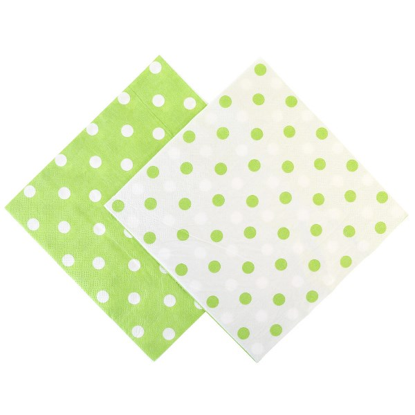 "Party Paper Napkins 6.5"" 20pcs  Polka Dot Palm Green"