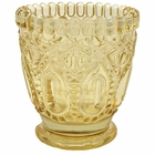 """Penelope Vintage Glass Candle Holder 3""""H Yellow"""