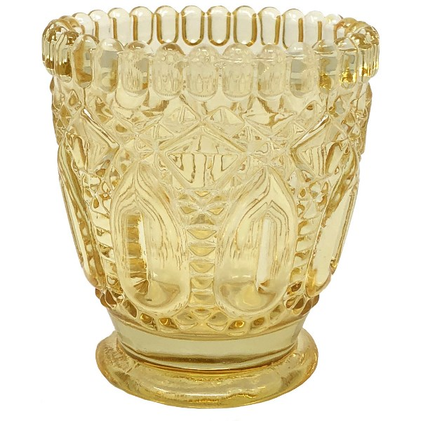 "Penelope Vintage Glass Candle Holder 3""H Yellow"