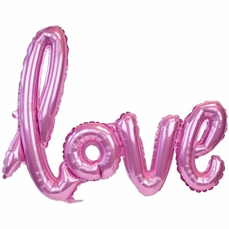 Pink Love Script Foil Balloon 30in