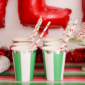 Polka Dot Paper Straws 25pcs Red & Green