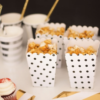 Popcorn Boxes 12pcs Polka Dot Black