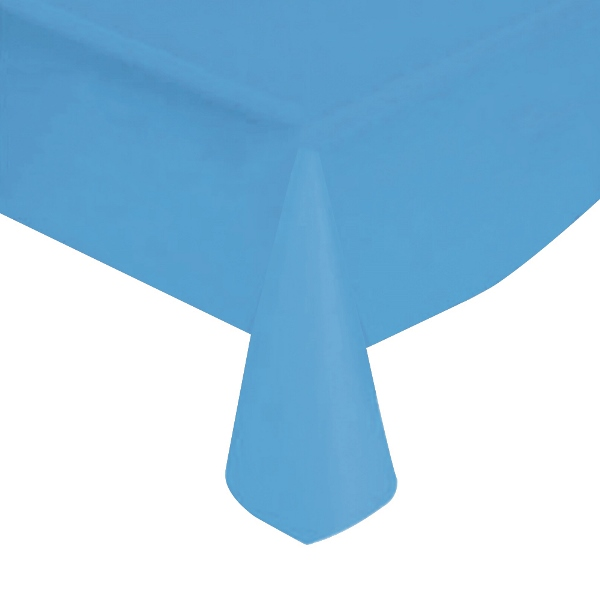 "Powder Blue Solid Plastic Tablecloth 54"" X 108"""