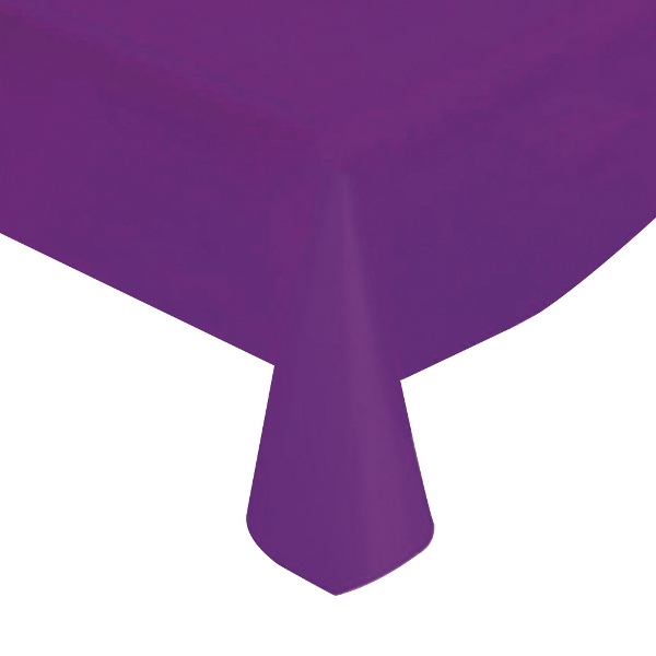 "Purple Solid Plastic Tablecloth 54"" X 108"""