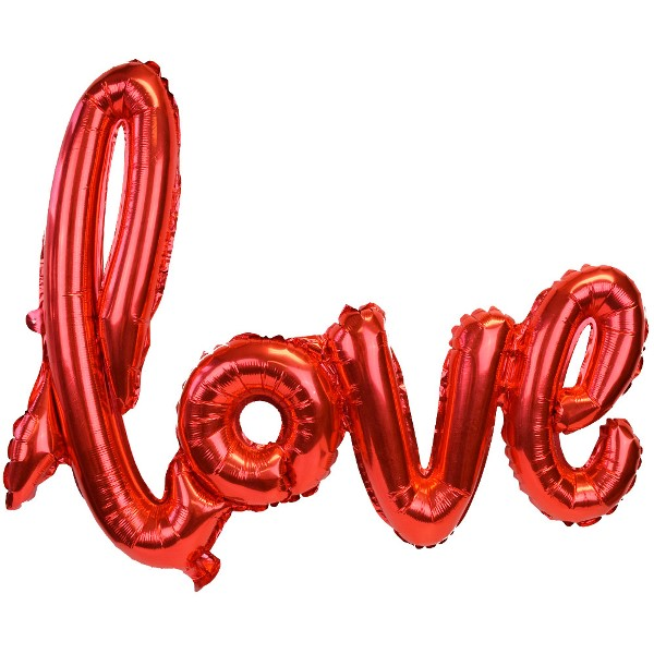 Red Love Script Foil Balloon 30in