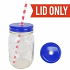 Regular Mouth Mason Jar Single Hole Lid Cobalt Blue - Lid only