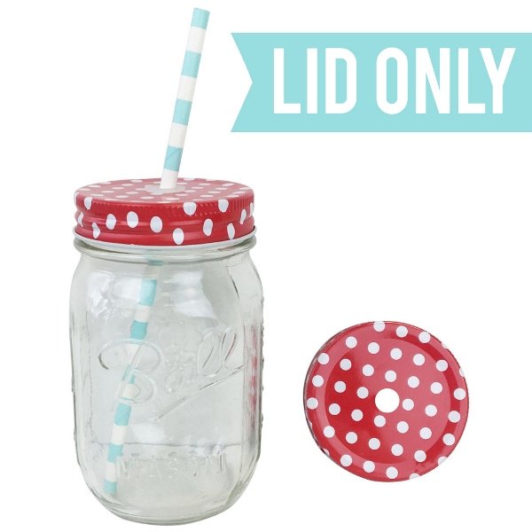 Regular Mouth Mason Jar Single Hole Lid Polka Dot Cherry Red - Lid only