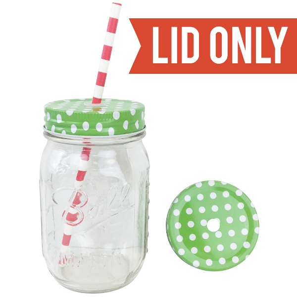 Regular Mouth Mason Jar Single Hole Lid Polka Dot Green Apple - Lid only