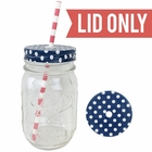 Regular Mouth Mason Jar Single Hole Lid Polka Dot Navy - Lid only