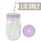 Regular Mouth Mason Jar Single Hole Lid Polka Dot Rose Pink - Lid only