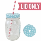 Regular Mouth Mason Jar Single Hole Lid Polka Dot Sky Blue - Lid only