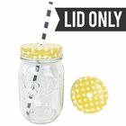 Regular Mouth Mason Jar Single Hole Lid Polka Dot Sunflower Yellow - Lid only