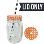 Regular Mouth Mason Jar Single Hole Lid Polka Dot Tangerine - Lid only