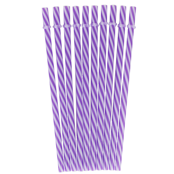 Reusable Plastic Straws 25pcs Striped Lavender