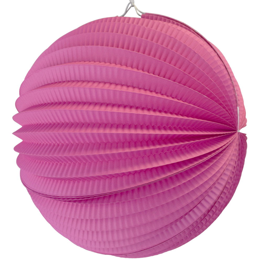 "Round Accordion 12"" Paper Lantern Fuchsia"