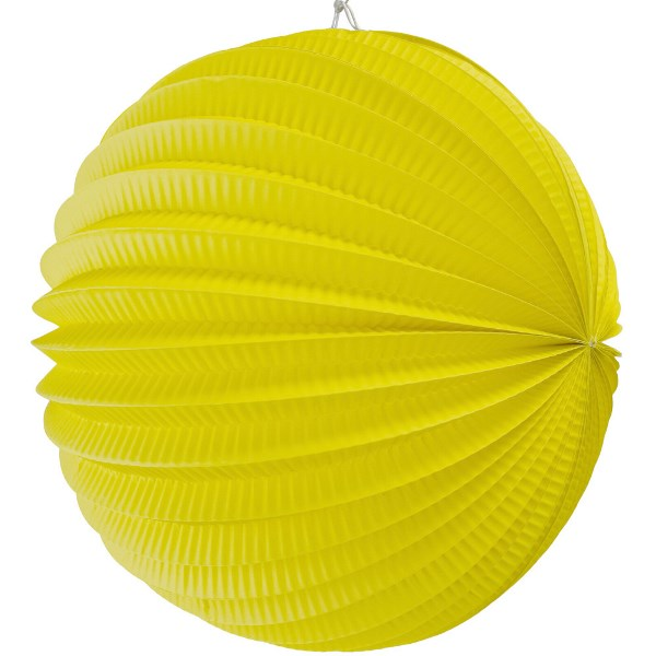 "Round Accordion 12"" Paper Lantern Lemon Yellow"