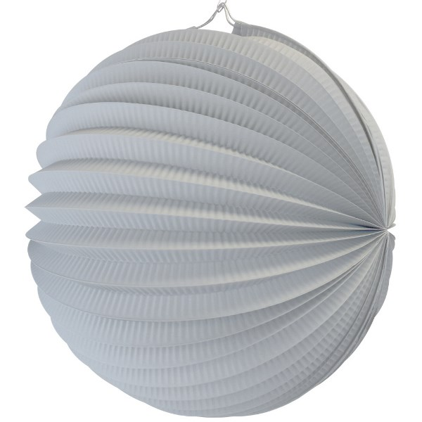 "Round Accordion 12"" Paper Lantern Stone Grey"